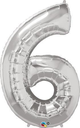 Silver Number Shaped 6