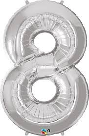 Silver Number Shaped 8