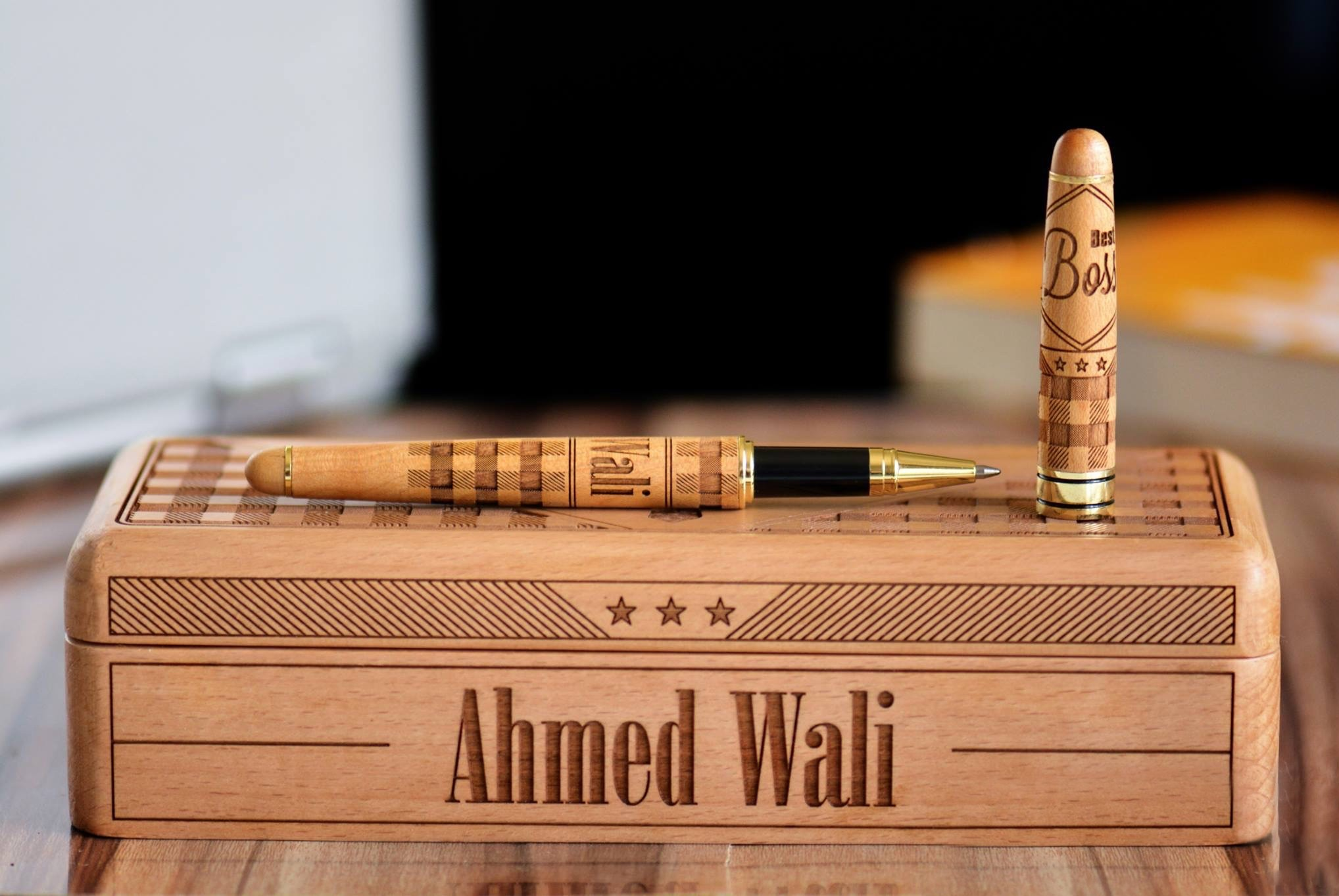 Personalised Engraved Wooden Box with Roller Pen Set