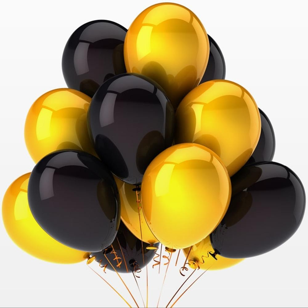 Gold & Black Party Balloons