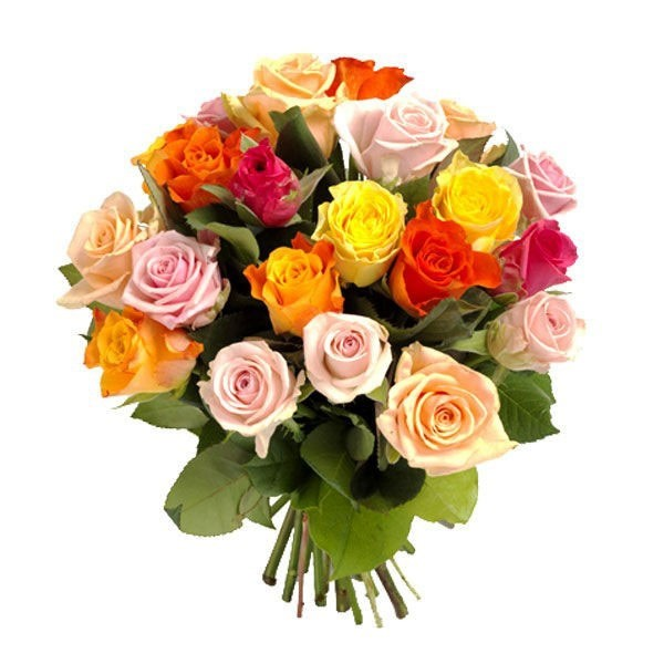 12 Mixed Coloured Roses Bouquet