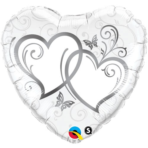 Entwined Hearts Silver Heart Foil Balloon