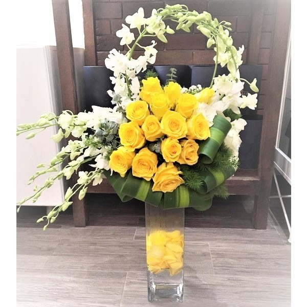 Yellow Sunshine Roses & Orchids